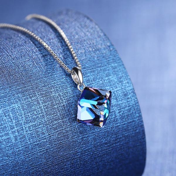 2017 Europa und die Vereinigten Silber Kristall Halskette liebe cube kette schlüsselbein weiblichen silber schmuck großhandel