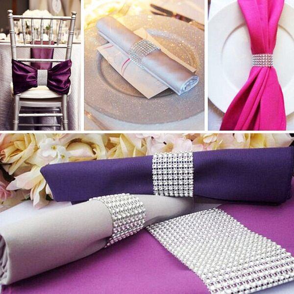 Wholesale- Diamond Mesh 50Pcs/lot 8 Rows Silver Closure Bling Napkin Ring Diamond Rhinestone Wedding Chair Sashes Bows