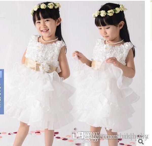 Wholesale Lace Flower Girl Dresses Bow Flower Girls Dresses Rose Weddings Communion Vintage Princess Pageant Gowns Dress Free