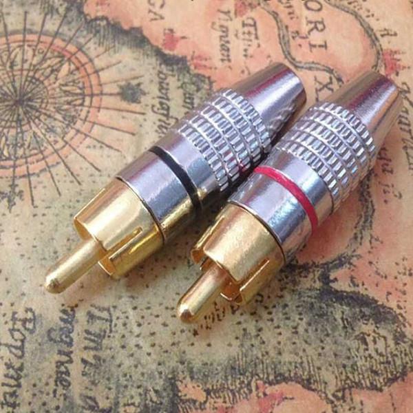 Vente chaude plaqué or mâle fiche RCA adaptateur audio sans fil haut-parleur or connecteur sans connecteur rouge + noir