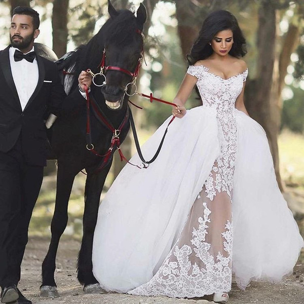 Charming 2017 Off The Shoulder Tulle Detachable Skirt Lace Sheer Wedding Dresses Sexy Puffy Bridal Gowns Custom Made China EN8176