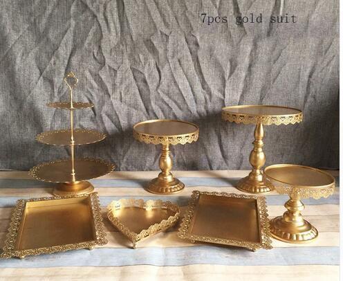 Goldhochzeits-Nachtisch-Behälter-Kuchen-Stand-Kuchen-Pan-Partei-Versorgungsmaterial 7PCS / Set, Tochterbabydusche Die Kuchentabelle geben Verschiffen frei