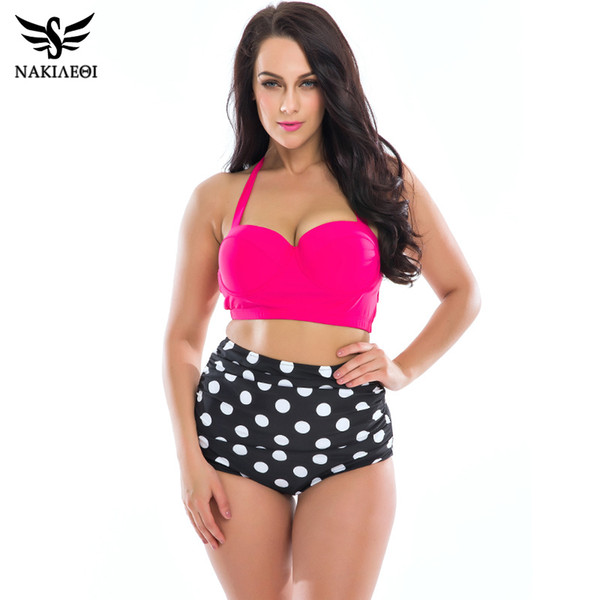 aba4daa56151 NAKIAEOI Plus Size Swimwear Mulheres Biquíni De Cintura Alta Maiô 2017  Novos Maiôs Top Halter Retro