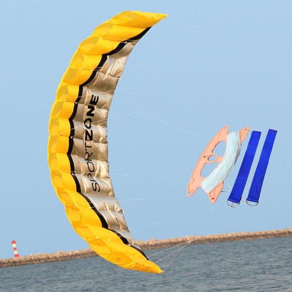 Software 2.5m Parachute Dual Line Stunt Kite Beach Nylon Sport Kite Travel Paragliding Kitesurf Outdoor Sport Toy For Adult