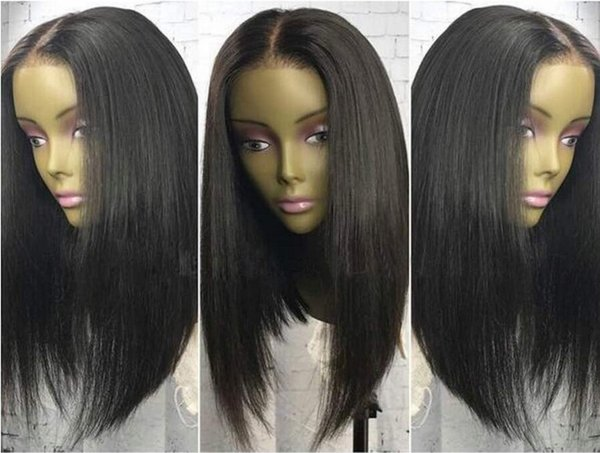 Hot Sale Virgin Indian Hair Silky Straight Long BOB Cut Lace Front Wig Full Lace Wig Free Shipping