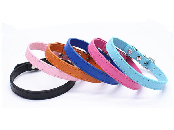 best selling 100pcs lot Fast shipping Dog PU Leather Collar Puppy Cat Dog Collar Cute Neck Strap Leather Pet collars