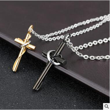 2eac2bebe0 Black and gold cross Pure steel couples with chain necklace two colors can  choose shipping free
