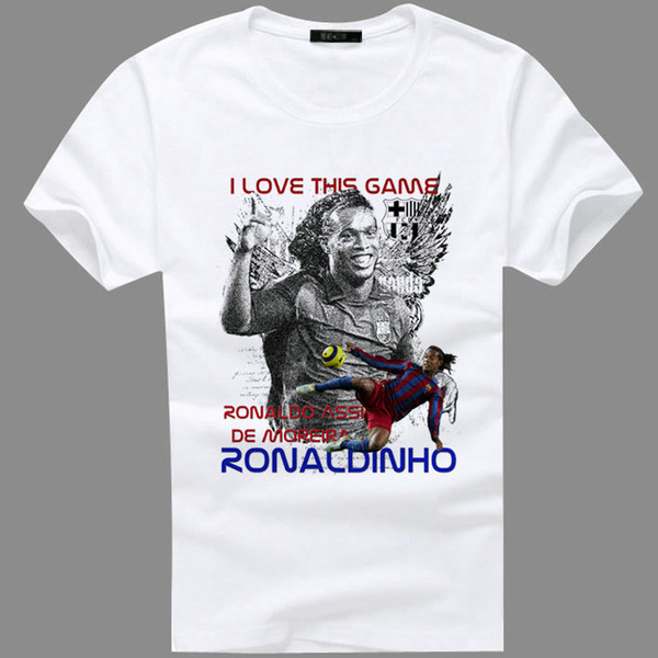 Ronaldinho t shirt Brazil soccer Ronaldo de Assis Moreira short sleeve gown Football tees Leisure unisex clothing Quality cotton Tshirt