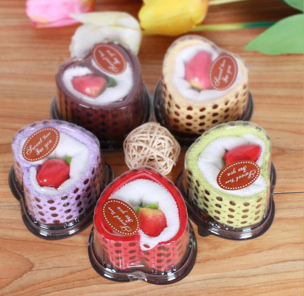 10pcs Mixed color Heart Cake Style Towel Fibre Creative Towels For Wedding Party Birthday Favor Gift Souvenirs Souvenir