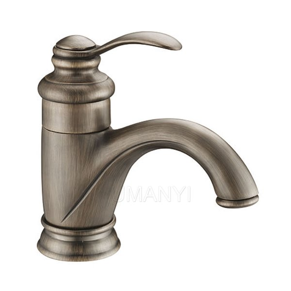 Wholesale Retail Bathroom Basin Faucets Antique Brass Brushed Bronze Single Lever Handle Deck Mount Hot Cold Mixer Toilet Sink Taps ABMPL045