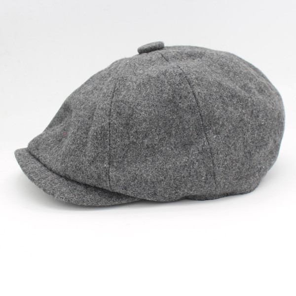 Wholesale-David Beckham Same Design Male Beret Fashion Gorras Planas Solid Boina Wool Beret For Men Hats Casual Octagonal Cap HT51095+15