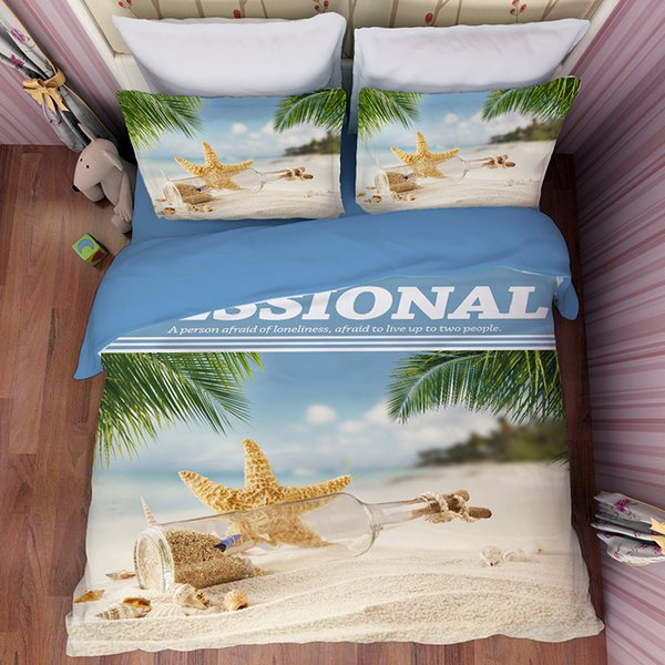 Seaside Starfish Conch Shell Printing Bedding Sets Twin Full Queen King Size Fabric Cotton Duvet Covers Pillow Shams Comforter Sandy Beach