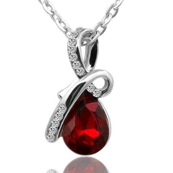"""Swarovski Eternal Love Austria Crystal Water-Drop Pendant Come With 20"""" Silver Plared Chain Necklace For Women Wedding Jewelry"""