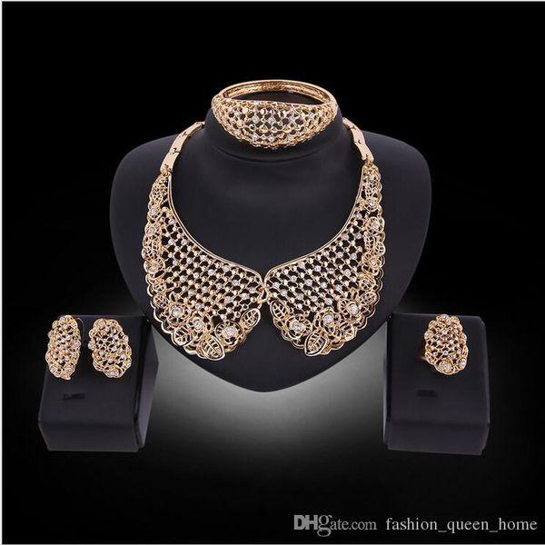 5set Necklace Earrings Bangle collar Jewelry Set Luxury Women Rhinestone Golden Alloy Circles Party Jewelry 4-Piece Set F10308