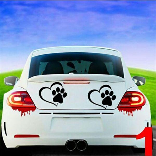 Car-Styling Pet Paw Print avec coeur chien chat vinyle autocollant fenêtre de la voiture autocollant de voiture drôle moto Decal pour BMW Audi Toyota