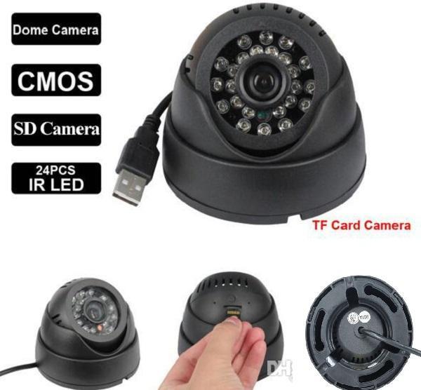 Home Security Camera Camcorder 24 Leds IR Night Vision Indoor USB Dome CCTV Camera Security Surveillance black & white