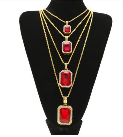 DJ yonth Men Fashion Hip hop Necklace Jewelry Set Gold Color Bling Rhinestone 4pcs Square Red Blue Gem Crystal Pendant Necklace Set