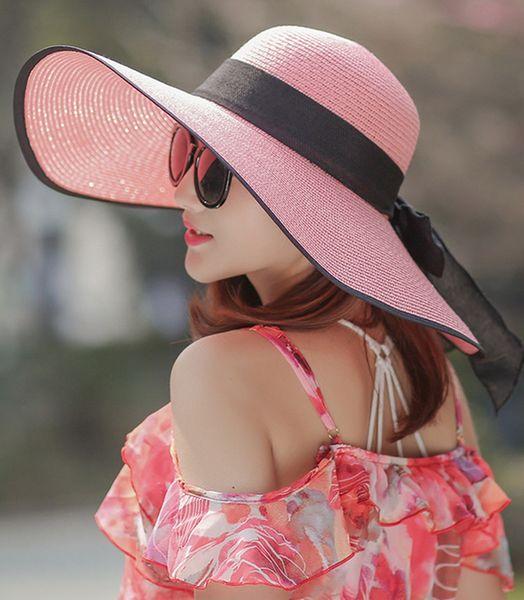 2017 summer burst models elegant fashion bowknot wide brim hats