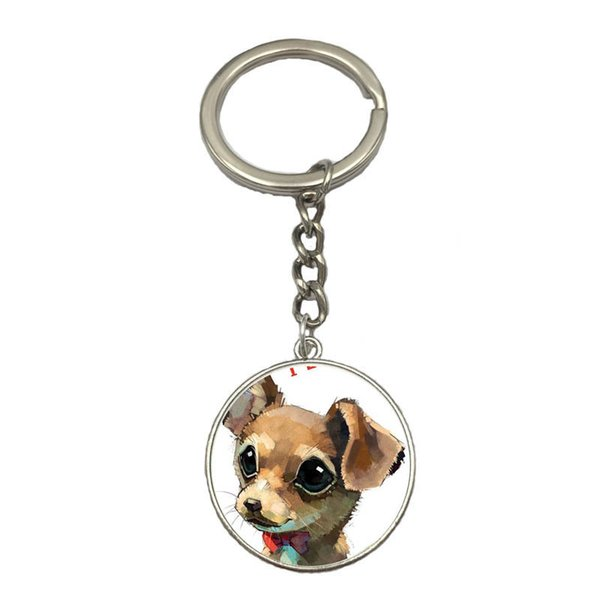Best gift Pet dog Chihuahua Time Gem Glass Pendant Key Chain Alloy Keychain KR216 Keychains mix order 20 pieces a lot
