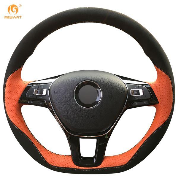 Mewant Orange Leather Black Suede Steering Wheel Cover for Volkswagen VW Golf 7 Mk7 New Polo Jetta Passat B8 Tiguan Sharan Touran Up