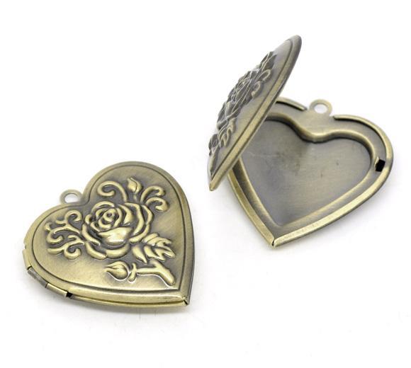 Großhandel- DoreenBeads Antique Bronze Herzform Rose Bild / Bilderrahmen Medaillon Anhänger 29x29mm (Fit 21x17mm), 1 Stck