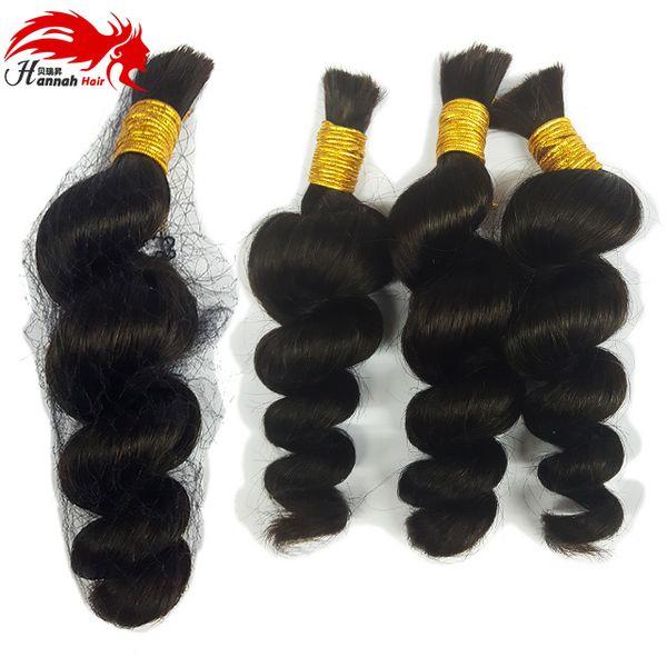 top popular Human Braiding Hair Bulk Peruvian Virgin Hair Braiding Bulk No Attachment Loose Wave Braiding Remy Hair 3Pcs 150gram Hannah Products 2019