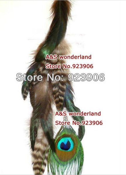 peacock feathers grizzly peacock clip in/ on hair extension women's fashion feather clip in hair extensions 10pcs/lot