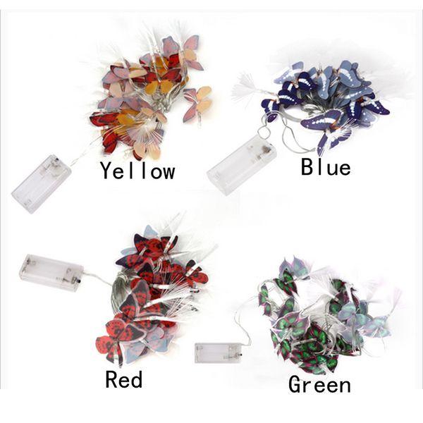 4 Colors 3.2M 20LED Battery Case Fiber Optic String Light butterfly Light For Christmas Wedding Party Garden Decoration