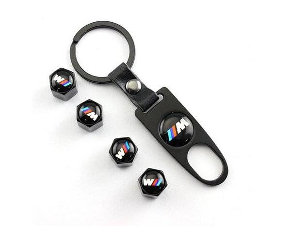 Coche que labra la rueda del coche Tapa de la válvula de aire del vástago del neumático hermético para BMW M3 M5 E46 E46 E90 E90 Tapas del polvo del aire del vástago del neumático E90 + llave de la herramienta Llavero