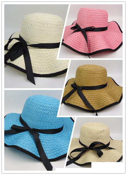 Vintage Women Large Floppy Foldable Straw Hat Boho Wide Brim Beach Sun Cap with Bow summer holiday wear Fashion Accessories