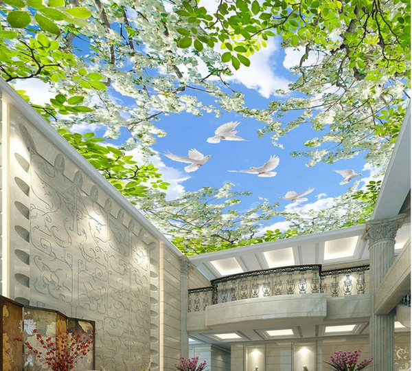 Оптовая продажа-3D номер обои пользовательские фреска нетканые стены стикер 3 d цветочный сад голубь небо потолок фреска фото обои для стен 3d