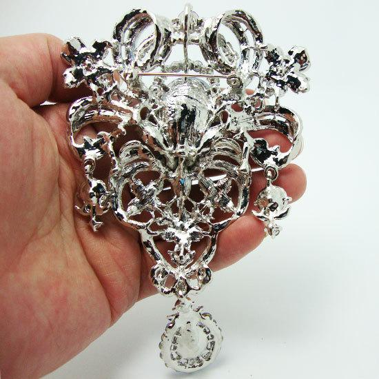 """pins for women 5.04"""" Flower Brooch Pin Pendant Blue Rhinestone Crystal Crown Brooches Pins For Women"""