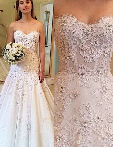 elegant lace satin strapless wedding dress floor length A-line sleeveless ruffle applique cheap bridal gowns free shipping
