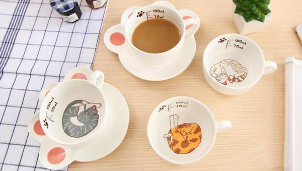 Sevimli Karikatür Kedi Paw Kupa Set Yaratıcı Catlike Seramik Kahve Kahvaltı Süt Su Kupa Porselen Fincan Ve Tabaklar 150 ml