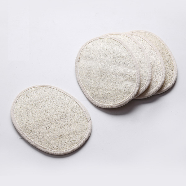 best selling 13*18cm Oval shape natural loofah pad scrubber remove the dead skin bath shower face loofah sponge