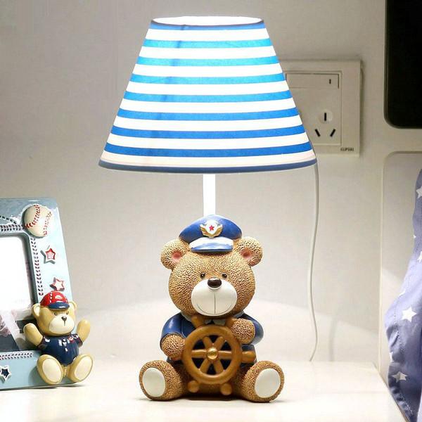 OOVOV Cute Bear Captain Baby Room Table Lamp Cartoon Fabric Boy Girl Room Desk Lamps Kids Bedroom Desk Lamps