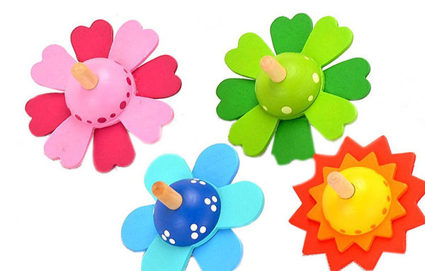 top popular 1pcs Baby Kids Flowers Wooden Spinning Top Classic Toy Montessori Early Educational new wooden toys for baby boy girl 2021