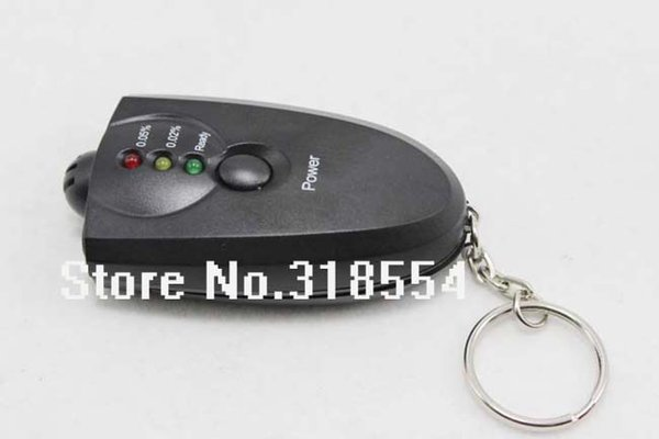 500pcs/lot # LED Light Accurate Breathalyzer Flashlight Breath Alcohol Tester Testers Keychain Key Chain Only Black Color 0001