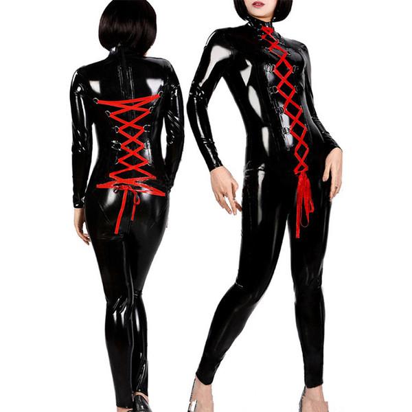 Women Sexy Catsuit Lace Up Long Sleeve Jumpsuit Zipper Front Open Crotch Black Vinyl Leather Lingerie Wetlook Latex Bodysuit