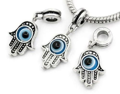 100Pcs/lot tibetan Silver alloy Hand EVIL EYE Charms Dangle Beads Fit European pendant Bracelet Jewelry Making Diy 32x12mm hole 4mm