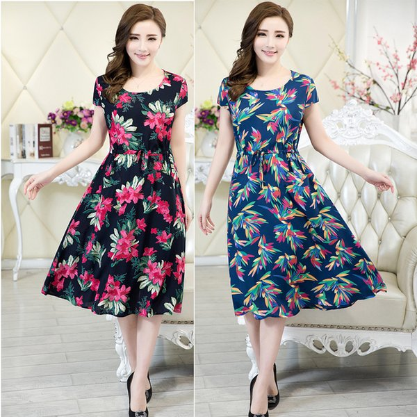 Wholesale- 2016 Women clothing vestidos medium-long casual dress short-sleeve o-neck loose vestido plus size female summer style dresses