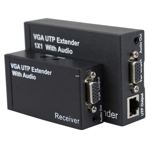 Freeshipping New Dual Video VGA UTP 1x1 Splitter Extender with Audio up Cat5/6 to 300M VGA UTP Extender Sender Reciver