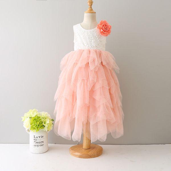 2017 baby girls lace TuTu princess dress cotton short sleeves Flowers dresses Kids Asymmetrical Clothing 6 colors top quality