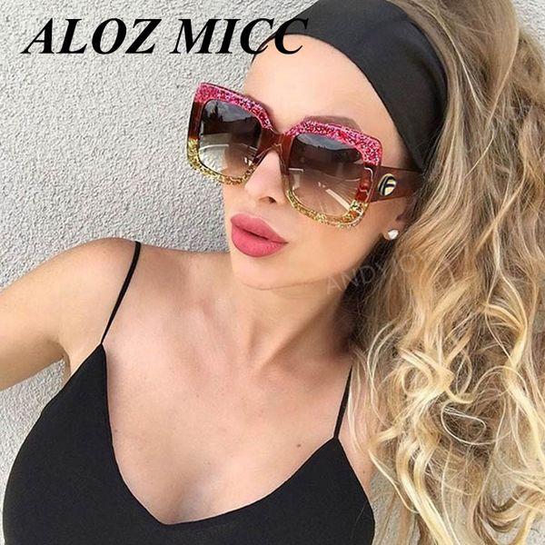 ALOZ MICCDesigner Moda Mujer Gafas de Sol de Marco Cuadrado de Gran Tamaño Gafas de Sol Vintage Verde Rojo Gafas Nuevo Oculos A333