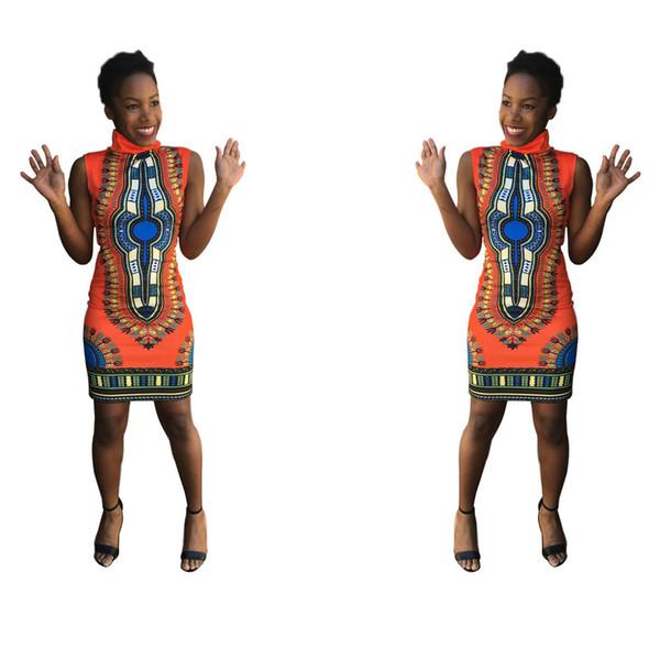 top popular Summer Dress Sexy Mini African Tranditional Print Dashiki Dress Women Clothing Folk Art African Dress Women Dresses Plus 2021