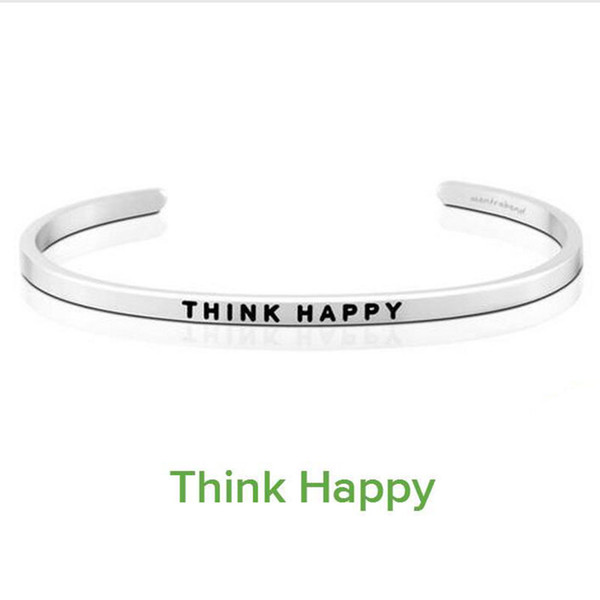 10PCS Delicate Silver Cuff Bangle THINK HAPPY Stamped Bracelet Titanium Steel Inspirational Bangle for Women Gift
