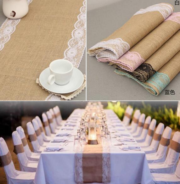 best selling 20pcs 30cm*275cm Vintage Burlap Lace Hessian Table Runner Natural Jute Country Wedding Banquet Party Home Decoration