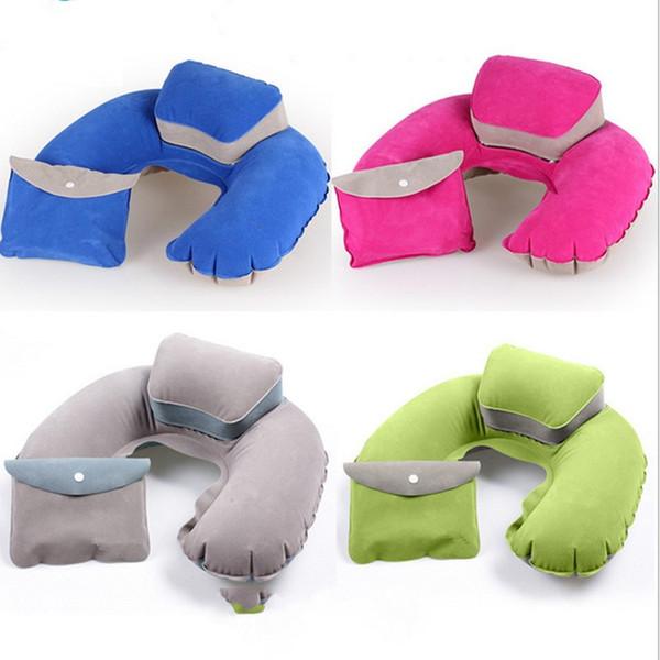 Les oreillers gonflables portatifs de voyage forment la forme d'U gonflent le coussin de cou PVC floquant pour le voyage de vol Vente chaude 5bj J R