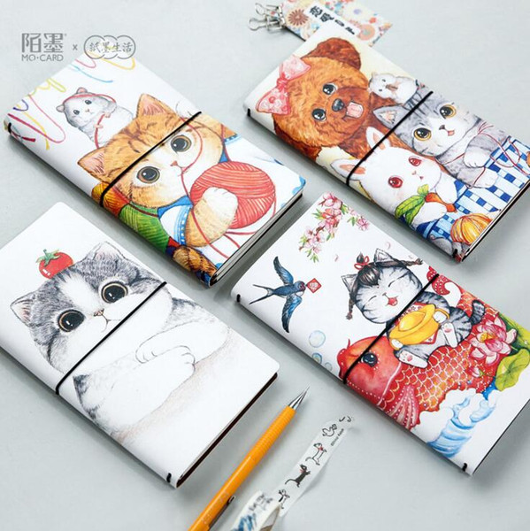 Wholesale- The AFU Cat PU Leather Cover Planner Notebook Diary Book Exercise Composition Binding Note Notepad Gift Stationery