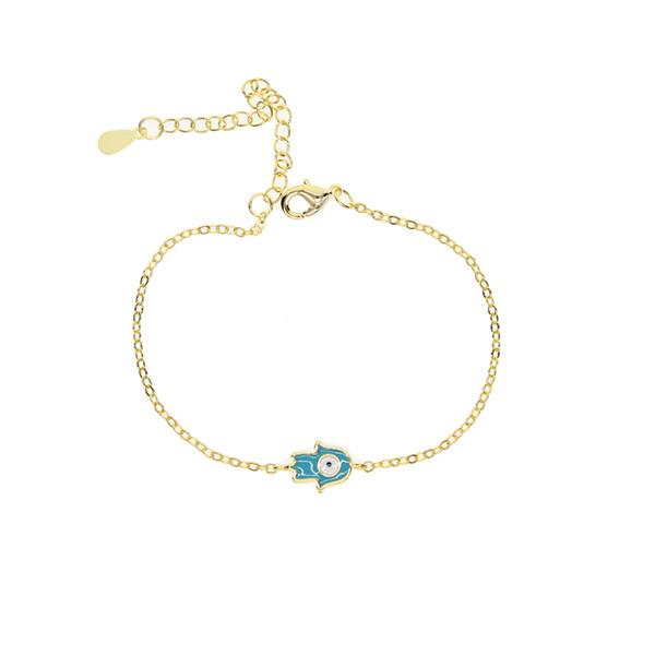 18k золото посеребренные ювелирные изделия симпатичные крошечные хамса рука Шарм разъем цепи ссылка девушка дети подарок хамса рука браслет эмаль